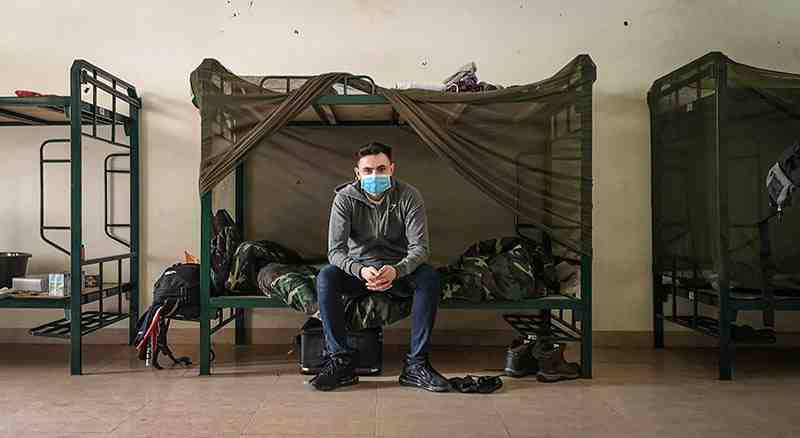 Gavin Wheeldon inside the government quarantine in Hanoi.