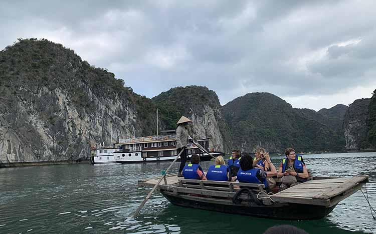 Sampan Boat in Halong Bay